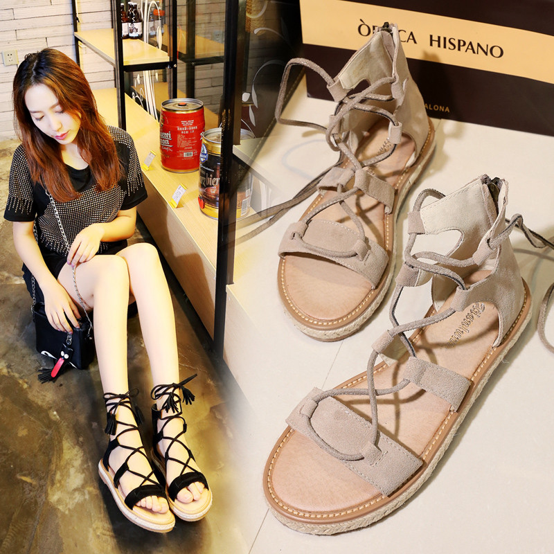 Sandals female summer flat simple 2018 new flat student Harajuku wild leather casual shoes large size 36