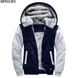 Image 2 - Мужские парки, синие толстые теплые флисовые куртки с капюшоном, большие размеры 8XL 9XL 10XL, зимняя черная верхняя одежда, красное пальто для дома