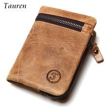Crazy Horse Leder herren Retro Geldbörsen Kurz Design Multifunktions Mann Geldbörse Reißverschluss Münzfach Mann Brieftasche Id Kartenhalter