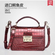 New gete real crocodile women handbag Thailand crocodile bag belly lock small package inclined shoulder women bag