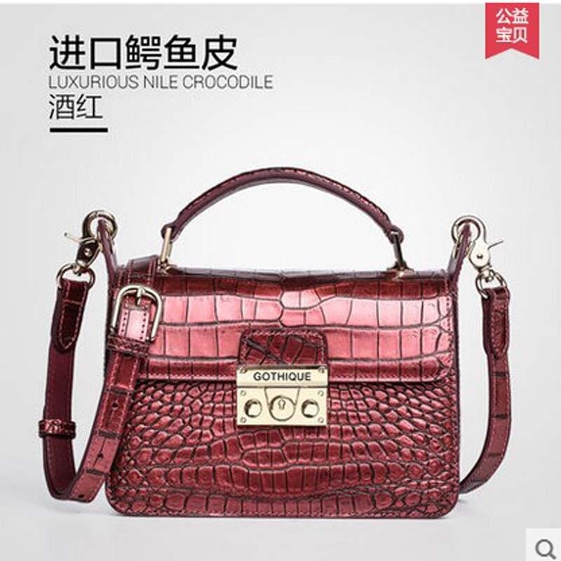 ee1d1af908c1 New gete real crocodile women handbag Thailand crocodile bag belly lock  small package inclined shoulder women