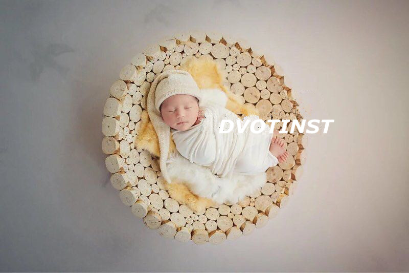 Dvotinst Newborn Baby Photography Props Round Wooden Box Plate Fotografia Accessory Infant Toddler Studio Shooting Photo Props newborn photography props child headband baby hair accessory baby hair accessory female child hair bands infant accessories