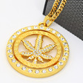 Set auger Hemp leaf spinner pendants High Quality Hiphop CHARM gold plated 70cm Long chain statement necklace MEN Jewelry