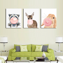 Nordic Style Cartoon Balloon Animal Posters and Prints Canvas Art Painting Wall Nursery Decorative Picture Kids Decoration