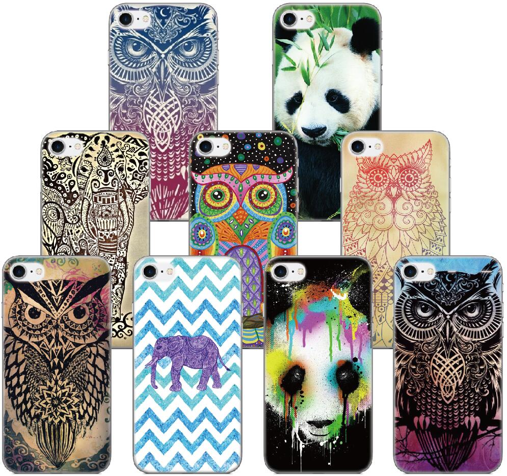 Elephant Owl Panda Cover For iphone X 4 4S 5 5S SE 5C 6 6S 7 8 Plus For iPod Touch 5 6 Hard Phone Case Capa Coque Fundas Bumper