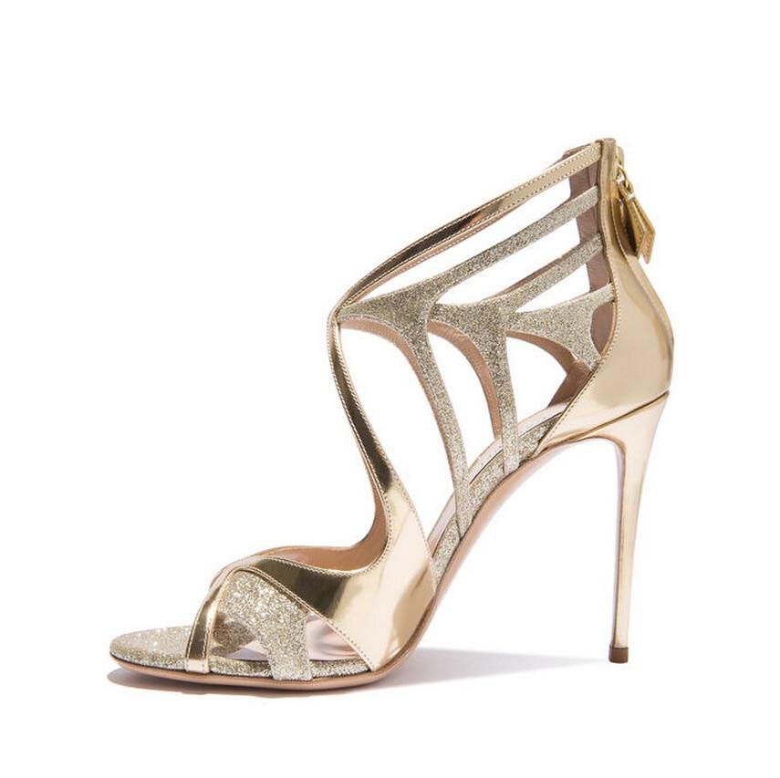 Carpaton Gold Glitter Embellished High Heel Sandal Sexy Open Toe Cutouts  Thin Heels Woman Shoes Cross-tied Summer Sandal 20f75833335c