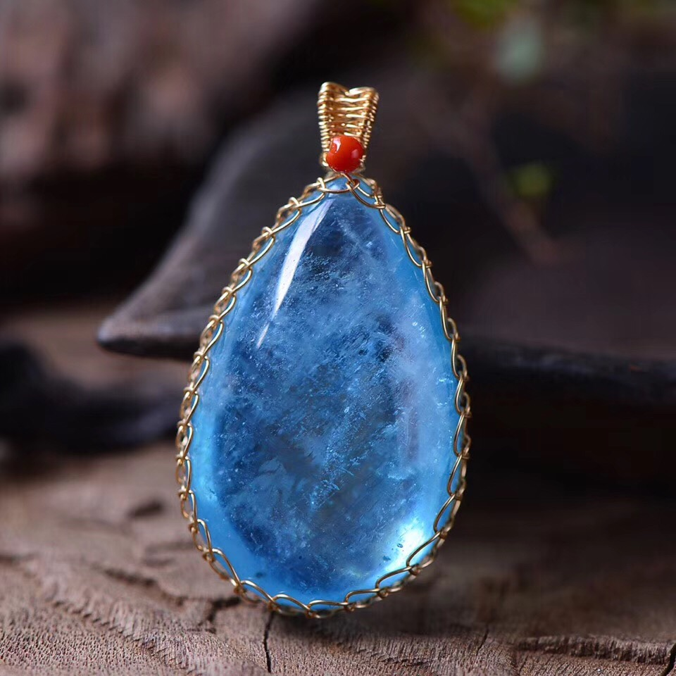 Edler Schmuck 34,7x22,4x13,3mm Natürliche Aquamarin Blau Transparent Kristall Anhänger Mit Mode Ozean Halskette Für Frauen Aaaaa Drop Verschiffen Schmuck & Zubehör