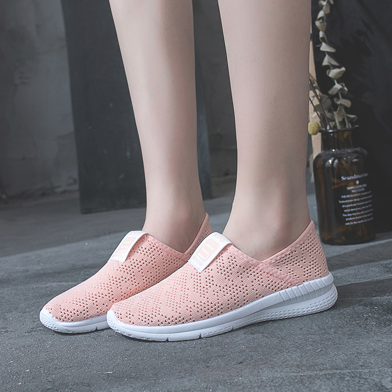2018 Woman Casual Shoes Breathable Sneakers Women New Arrivals Fashion Air mesh shoes women Gray White Black Pink Size 35-40