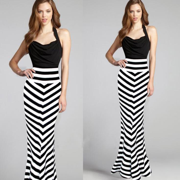 cc4ffa956 Saias Femininas 2015 moda de nueva marca tobillo faldas largas sirena  trompeta mujeres hecha punto rayada falda ropa mujer caliente venta en  Faldas de La ...