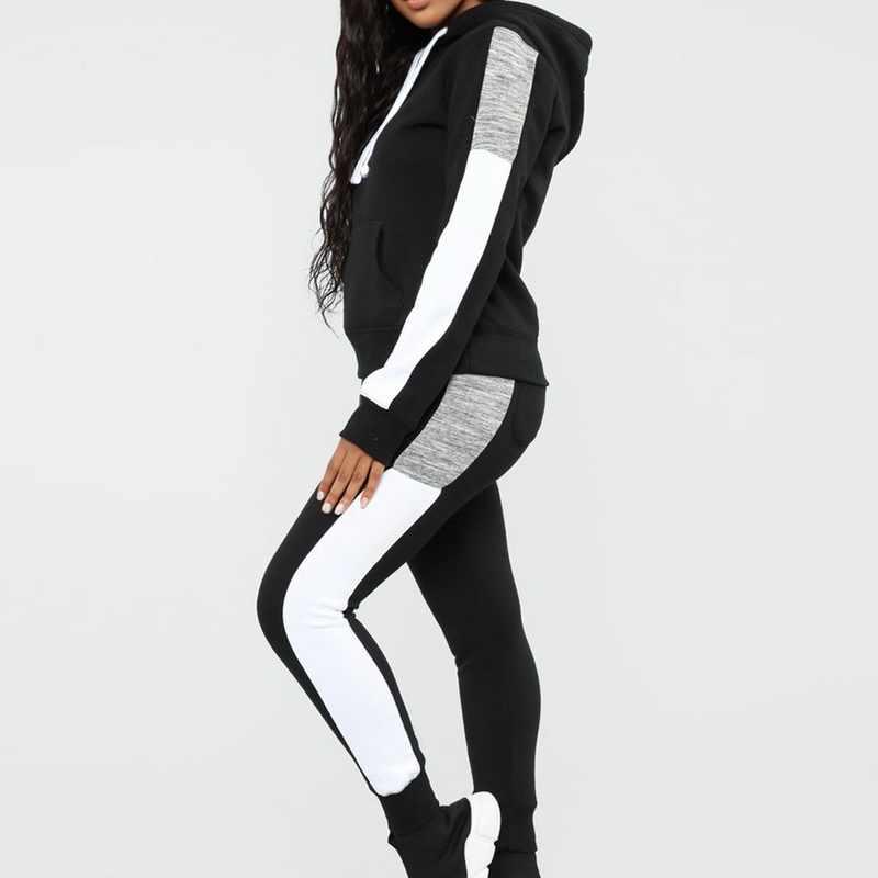2020 가을 새로운 스포츠 정장 여자의 Tracksuit 긴 소매 줄무늬 실행 조깅 세트 땀 바지 2pcs 스포츠 여성