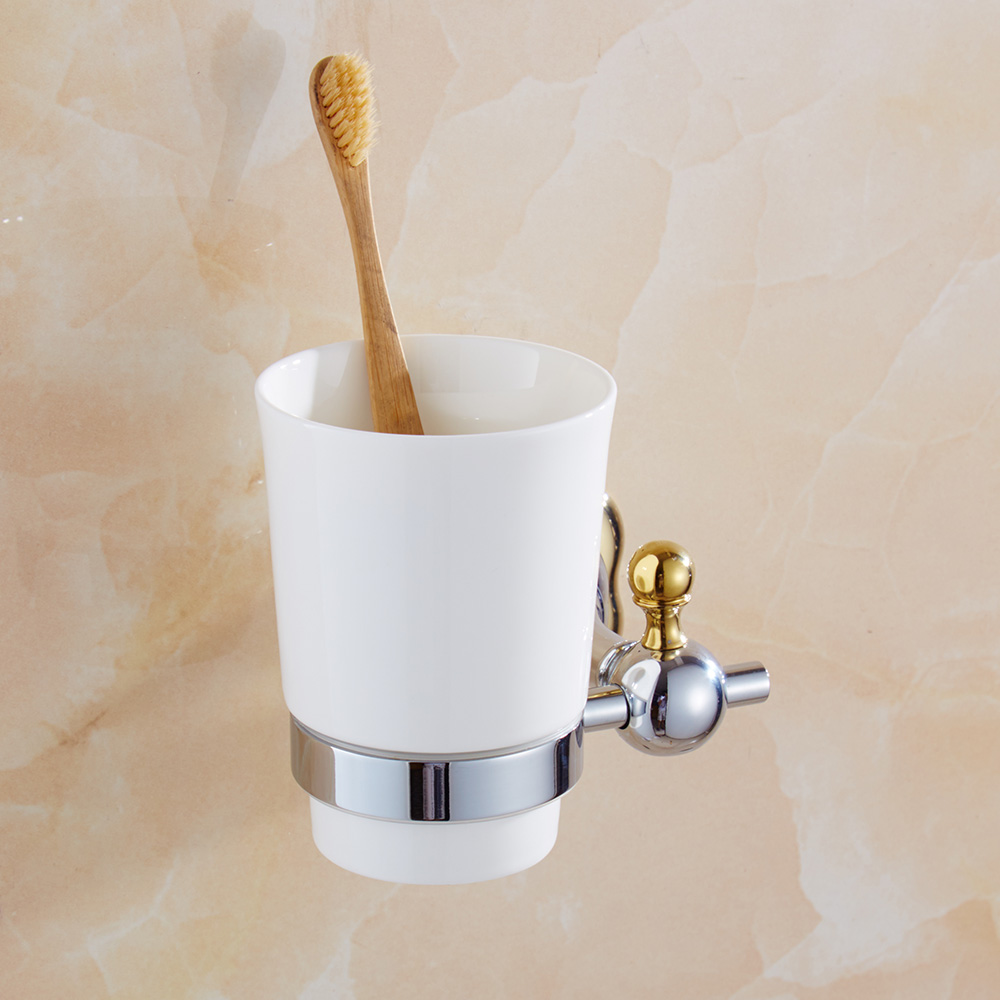 Simple Flower Design Toothbrush Cup Holder Gold and Silver Tumbler Unique Bathroom Accessories silver polish cup holder modern double tumbler holder flower design cup toothbrush holder bathroom accessories