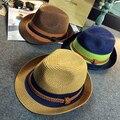 Patchwork verano de Paja Sombreros Fedora Hombres Nudo Decoración del Roll-up de Ala Ancha Playa del Sol-shading Caps Mujer SDDS-026