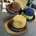 Summer Patchwork Straw Fedora Hats Men Knot Decoration Roll-up Brimmed Sun-shading Beach Caps Female SDDS-026