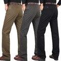Sólidos Casual calças dos homens calças soltas 2016 inverno grossa de algodão de meia idade de negócios em linha reta calças compridas calças de vestido liso