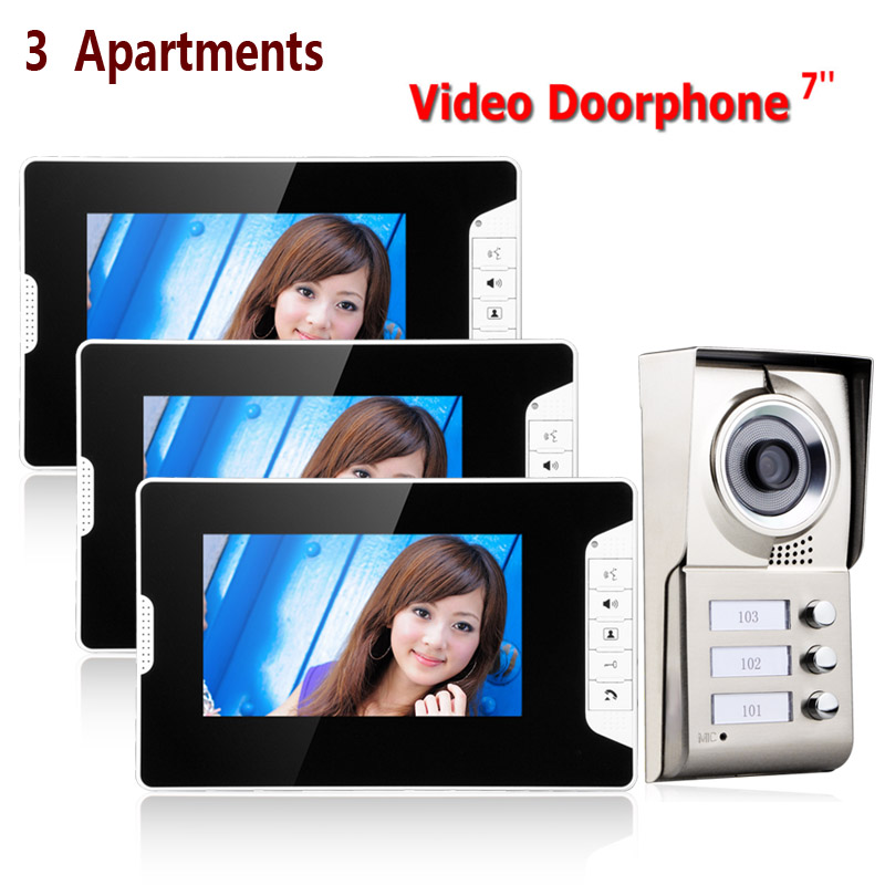 7inch TFT 3 Apartments Video Door Phone Intercom System HD  IR-CUT HD 1000TVL Camera Doorbell Camera With 3 Button 3 Monitor