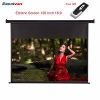 Excelvan HD 120 дюймов 16:9 электрический экран для 3D ЖК дисплей DLP проектор Поддержка крепление на потолок, на стену моторизованный проекционный эк