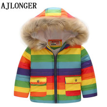 AJLONGER Childrens Winter Jackets For Girls Floral Hooded Thick Coat Casual Autumn Teenage Clothing