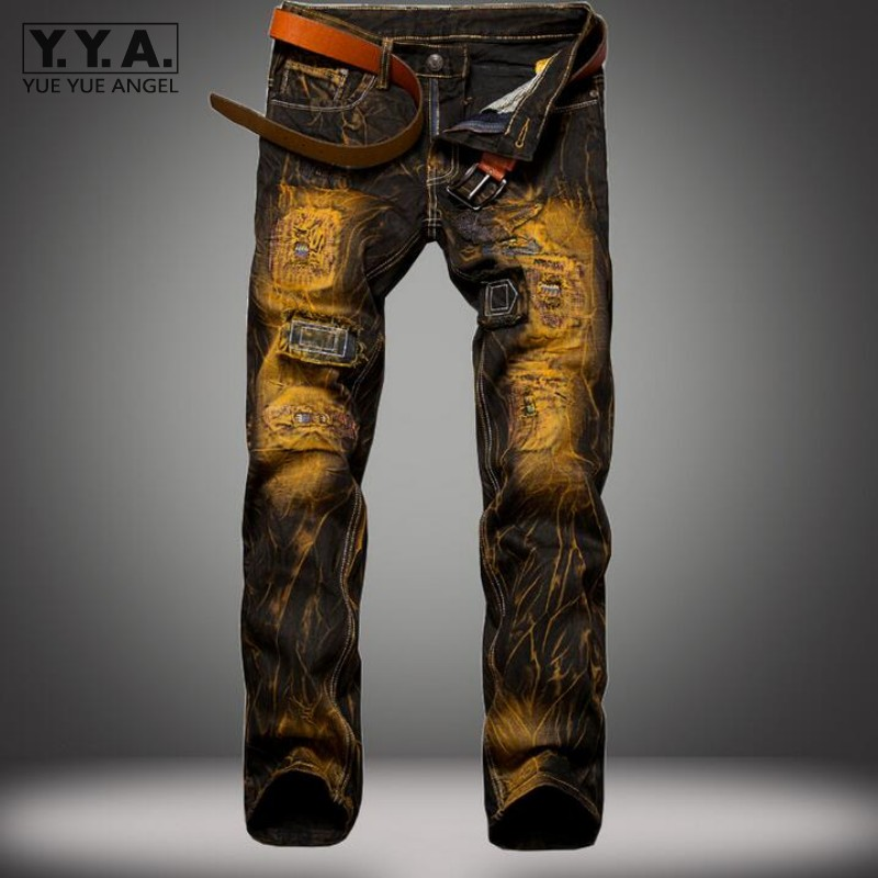 American Style Personality Men Jeans Masculina Casual Denim Distressed Mens Slim Jeans Pants Rock Patchwork Ripped Jeans Homme hip hop men jeans masculina casual denim distressed mens slim fit jeans pants brand biker jeans straight rock ripped jeans homme