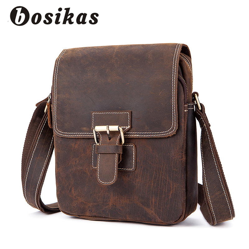 BOSIKAS Genuine Leather Men Bag Vintage Leather Crossbody Bag Shoulder Men Messenger Bags Small Casual Designer Handbags Man Bag designer brand new arrival men s shoulder bag genuine casual cowhide leather handbags bussiness vintage retro men messenger bag