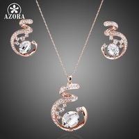 Unique Design Rose Gold Plated SWA ELEMENTS Austrian Crystal Necklace And Earrings Jewelry Set FREE SHIPPING