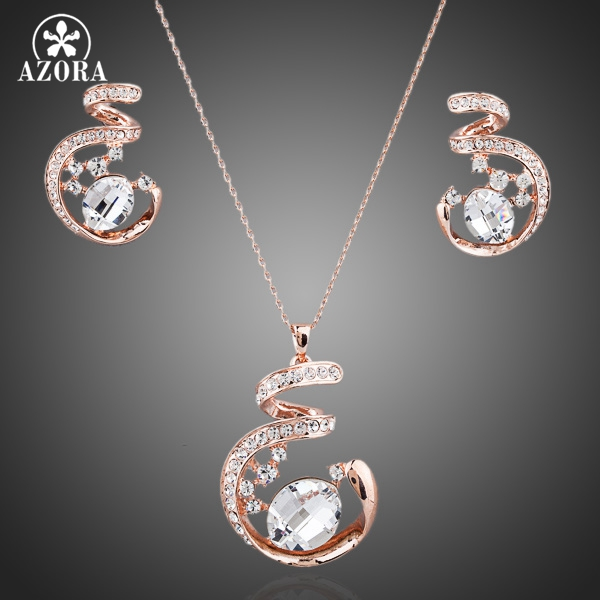 AZORA Unique Design Rose Gold Color Stellux Austrian Crystal Necklace and Earrings Jewelry Set TG0058