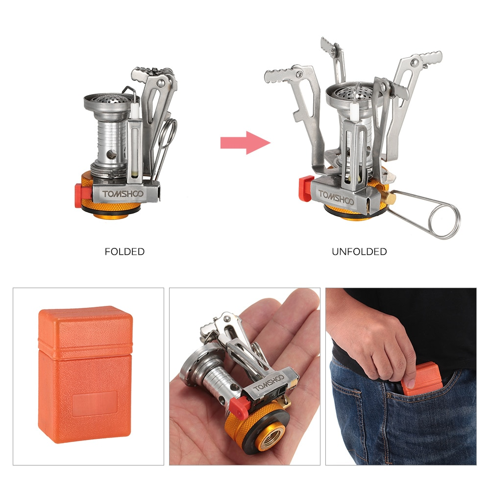 TOMSHOO Outdoor Mini Foldable Camping Stove Backpacking Canister Stove Burners Picnic Cooking Stove Connector Adaptor Burners in Outdoor Stoves from Sports Entertainment