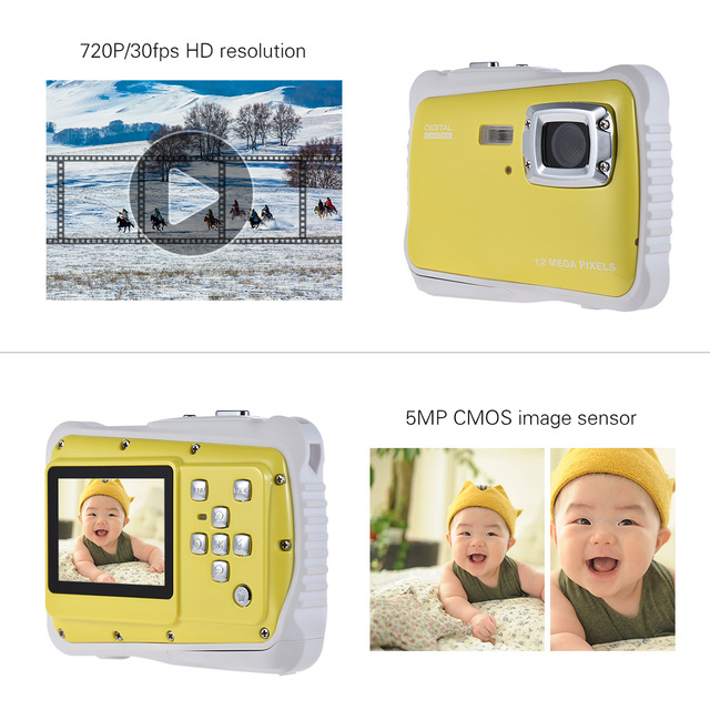 2.0″ LCD 720P HD Mini Digital Camera 5MP Waterproof Portable Camcorder  w/ Built-in Microphone Best Gifts for Kids Boys Girls