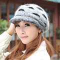 2016 Lady's Big Eyes Design Fur Warm Cap Winter Hat For Woman Beanies Knitting Wool Hat Skullies Gorros Bone