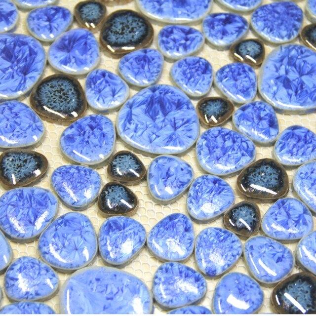 Blau Pebble Keramik Mosaik Fliesen Küche Backsplash Tapete Badezimmer  Schwimmbad Wand Hintergrund Fliesen Dusche Dekoration