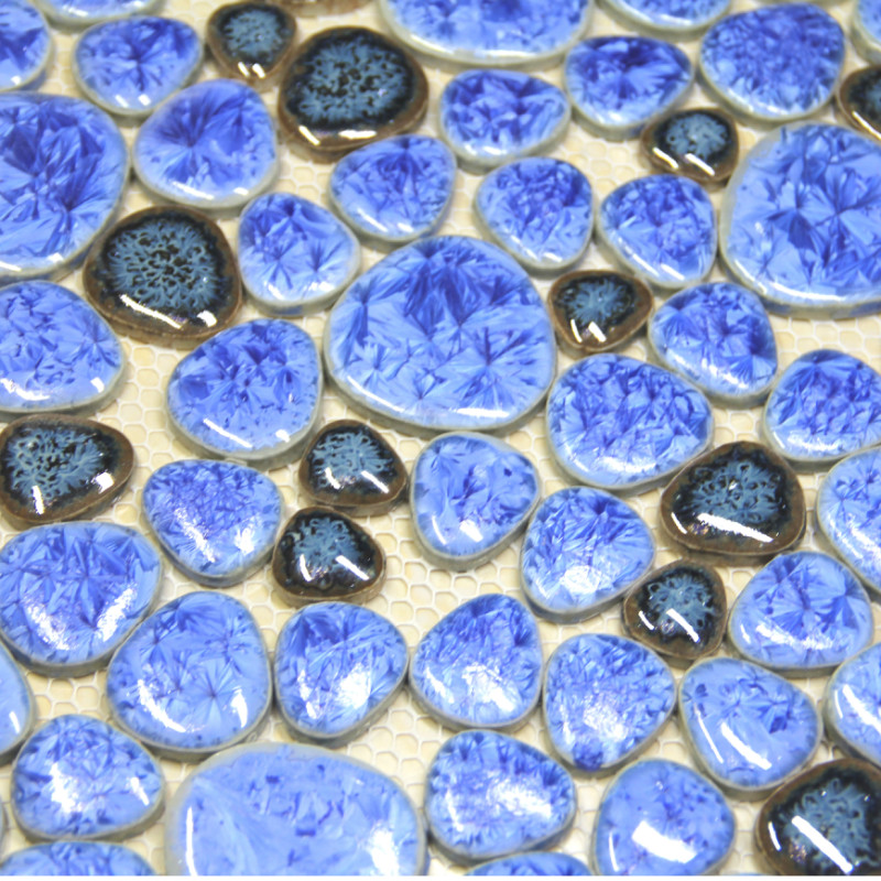 blue pebble ceramic mosaic tile kitchen backsplash wallpaper bathroom swimming pool wall background tiles shower home decoration