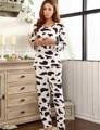 Moda Mujeres Pijama Pijama de Manga Completa Mujeres Pijama Establece Leche de Vaca ropa de Dormir de Impresión Pantalones Largos Mujeres Nightclothes MLXL