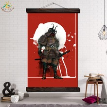Japan Samural Single Framed Scroll Painting Modern Canvas Art Prints Poster Wall Artwork Pictures Home Decor