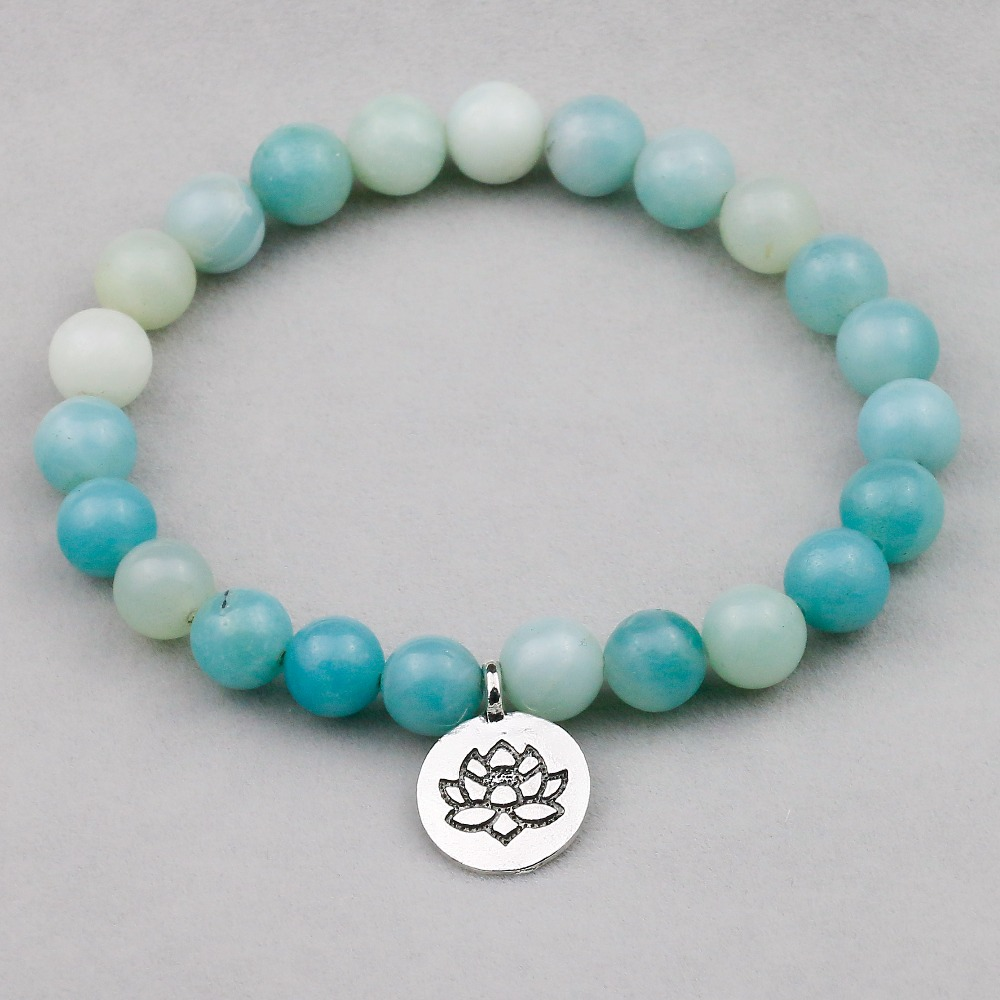 8mm Natural High Quality Amazonite Stone Beads With Lotus Pendent Yoga Bracelets For Women New Design Handmade Men Jewelry
