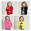 2016 Hot Fashion Kids Sweater Cotton Spring Open Stitch Girl Coat O-Neck Children Clothes Black Solid Casual Kids Clothing