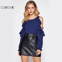COLROVIE 2017 Long Sleeve Blouse Round Neck Open Shoulder Frill Trim Ruffle Top Ladies Cold Shoulder