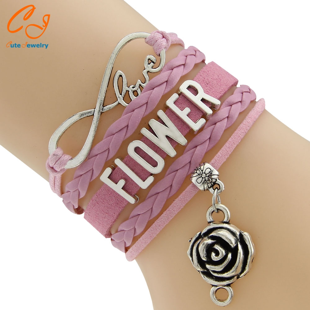 Waxed Cord And Braided Cord Rose Flower Bracelets 2016 New Patterns 5 Colors Wording FLOWER Europe Style Drop Shipping