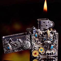 Police Silver серебро S925 зажигалки оптом мозаика камень вращения две монеты 3Д животного пожарная машина