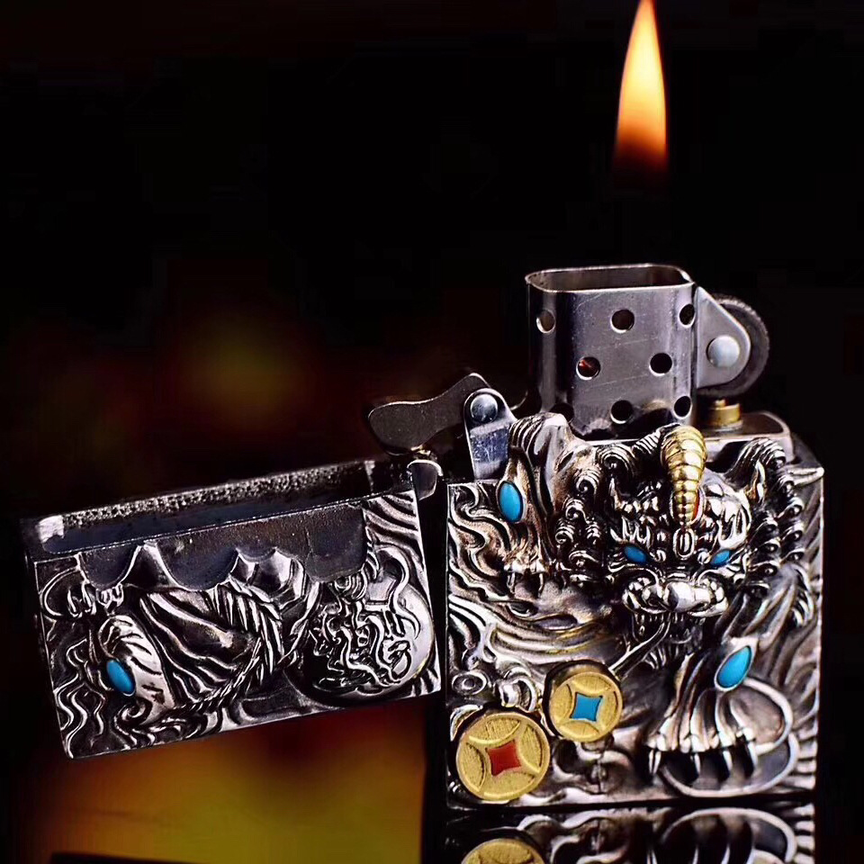 Police Silver Sterling Silver S925 Lighter Wholesale Mosaic Gem Rotation Two Coin Three Dimensional Animal Fire Machine