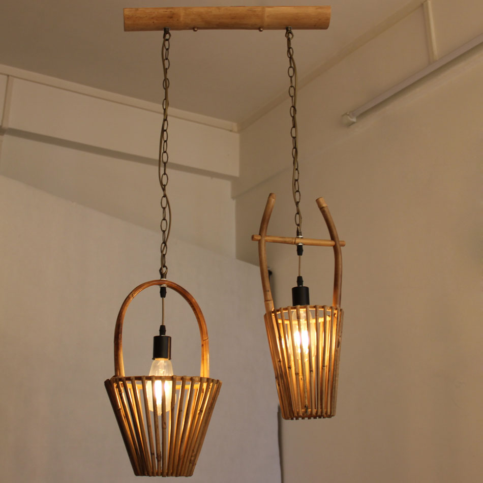 Art bamboo Pendant Lights bamboo Hanging Lamps Dinning Room Restaurant Retro Fixtures Luminaire