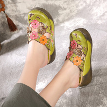 Ladies slippers new national wind hand-rubbing Baotou light beach thick-soled