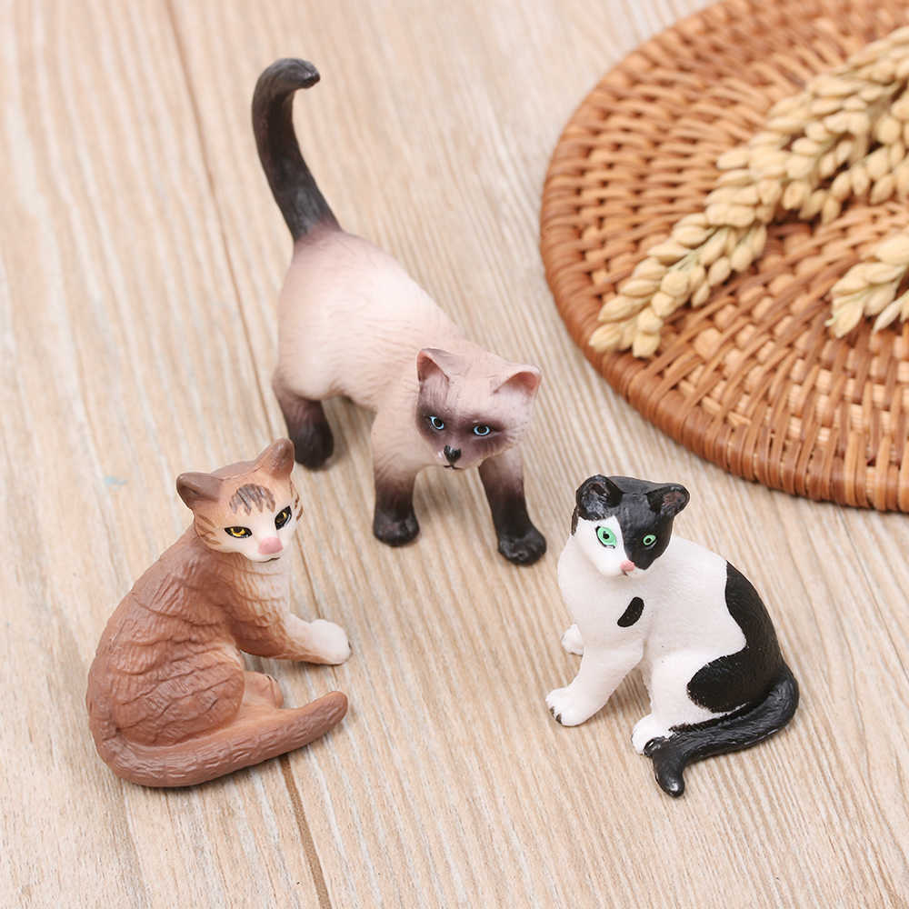 1Pcs Mini Pet Model Toy Plastic Fairy Garden Doll Neko Figurine Miniature Cat Simulation Animal DIY Gift House Decoration