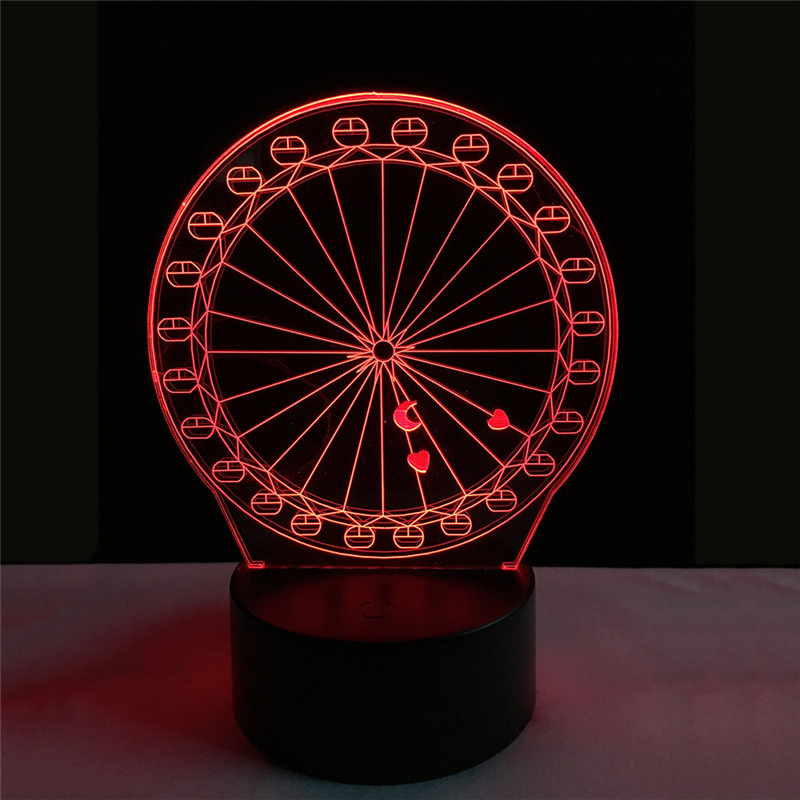 Acrylic 7 Color Ferris wheel 3D Flower LED nightlight of bedroom lamp livingroom lights desk table Decor Night Light Kid Gift