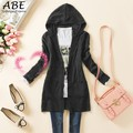 2016 Autumn Winter Women Casual Long-sleeve Candy Color Knitted Sweater Outerwear Long Hooded Cardigan Femme Pull Hiver