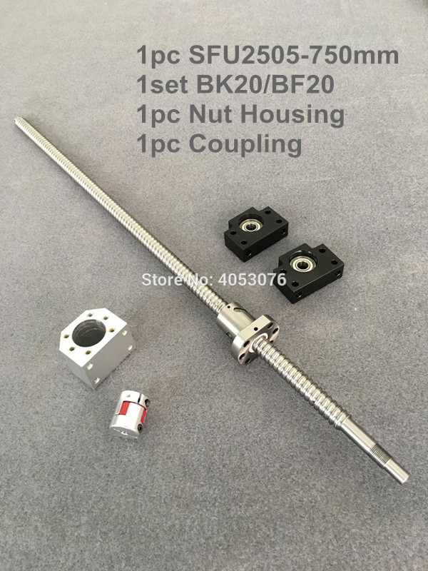 SFU / RM 2505-750mm Ballscrew with end machined+ 2505 Ball nut + BK/BF20 End support +Nut Housing+Coupling for CNC parts