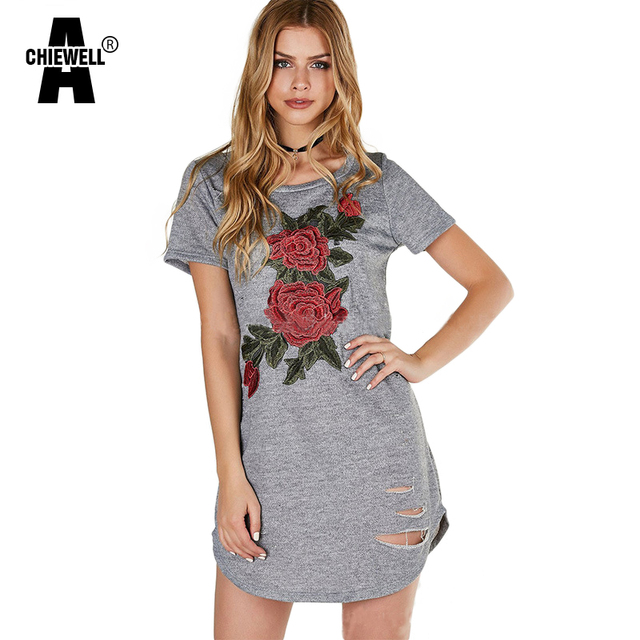 3d19dfdcf36d Achiewell Summer Casual Loose Women Dress Round Neck Red Flowers Embroidery  Appliques Ripped Short Sleeve Grey Cotton Mini Dress