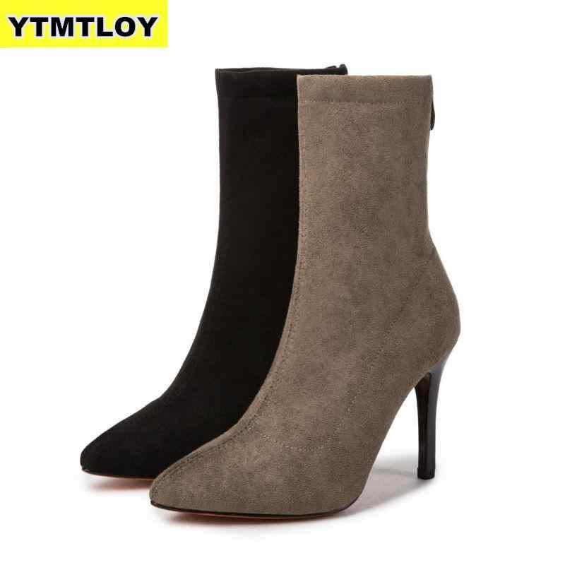 2019 Mulheres Meia Botas Dedo Apontado Alta Elástico Deslizamento Em Bombas Tornozelo Do Salto Stiletto Botas Zapatos De Mujer Sapatos Meia botas de Cano alto