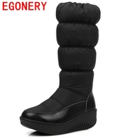 EGONERY Shoes 2017 Women Fashion Knee High Boots Casual Winter Down Snow Boots Popular Round Toe