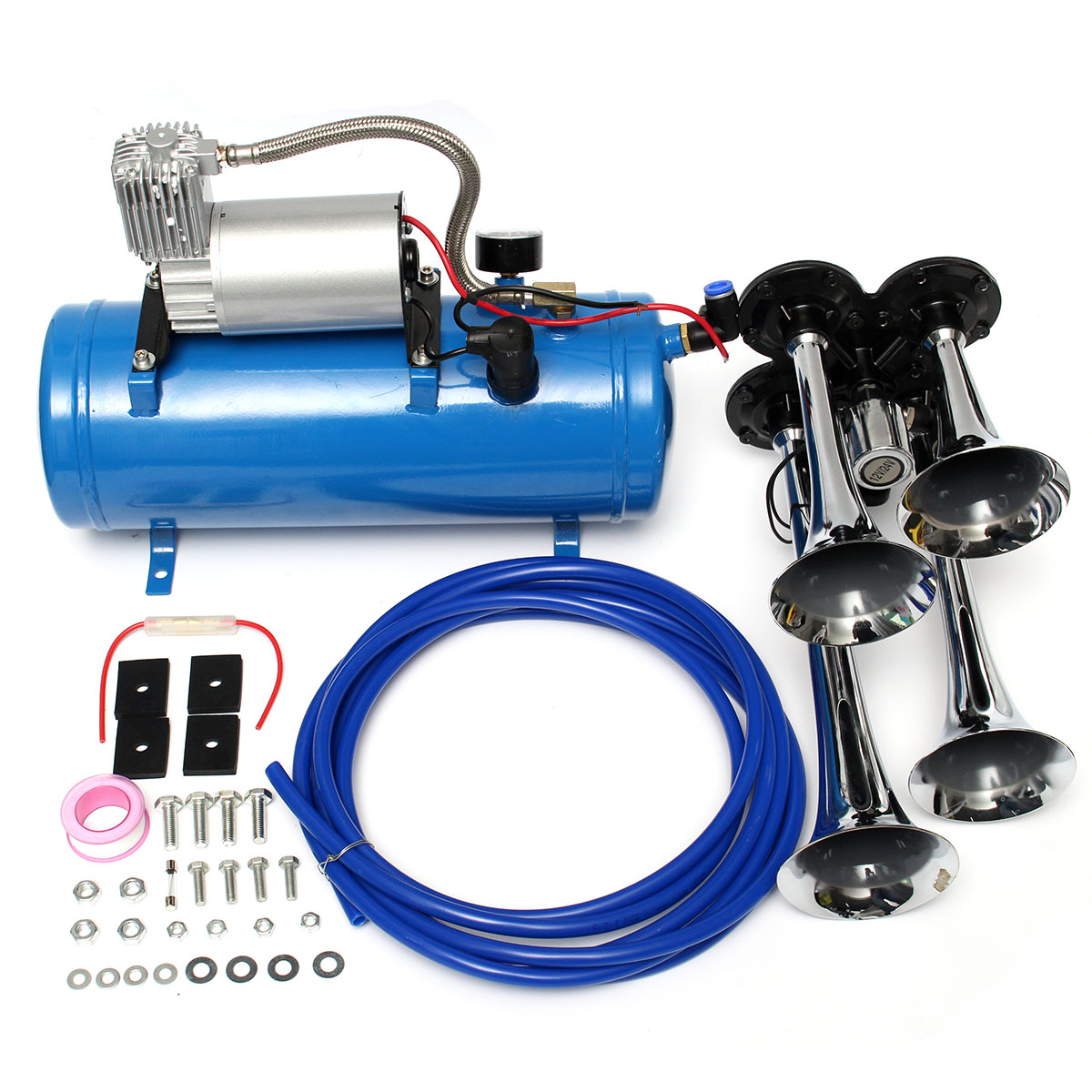 4 Trumpet Vehicle Air Horn 12V Compressor Tubing 150 dB Train 120 PSI Kit 6L db 07
