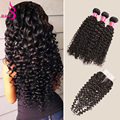 Virgin Brazillian Curly Hair With Closure 3Bundles Queen Brazilian Kinky Curly Hair With Closure Human Hair Weave With Closure