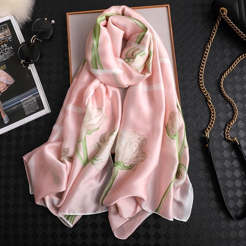 2019 luxury brand Designer   scarves   for women elegant floral printed silk   scarf   shawls and   wraps   lady hijabs pashmina